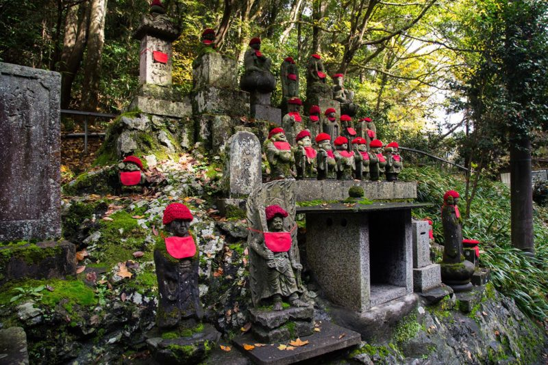 Jizo statues, guardians of travelers and the weak.