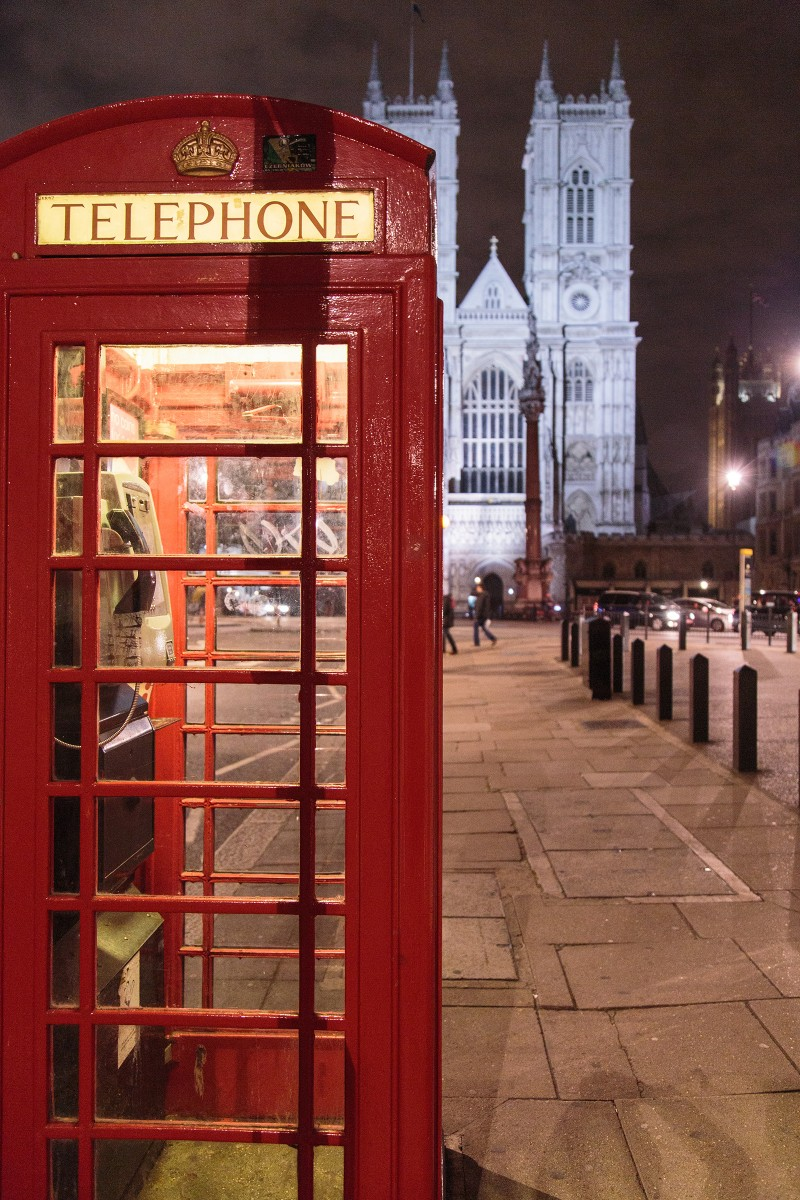 Red phone booth at night!