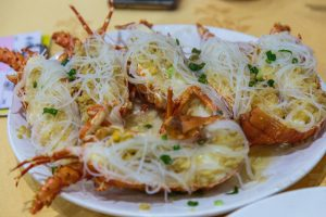 """""""Little"""" lobsters with vermicelli. Definitely got one too many of these."""