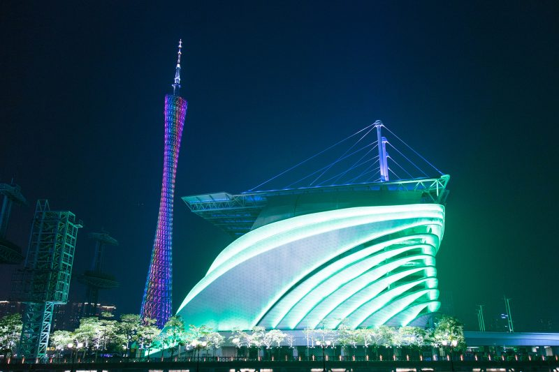 Canton Tower and Sports Stadium at night